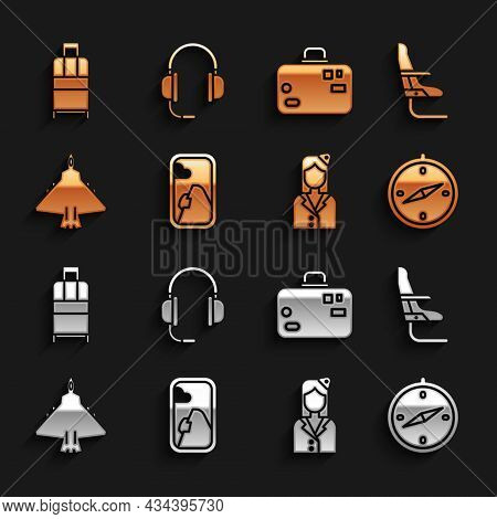 Set Airplane Window, Seat, Compass, Stewardess, Jet Fighter, Suitcase, And Headphones With Microphon