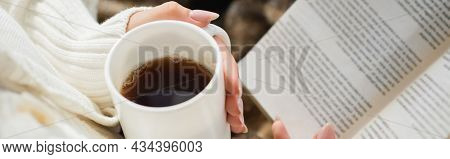 Partial View Of Woman With Cup Of Warm Tea And Book, Banner
