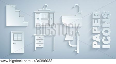Set Office Desk, Washbasin With Water Tap, Closed Door, Wall Sconce, Cabinet And Staircase Icon. Vec