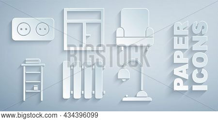 Set Heating Radiator, Armchair, Bathroom Rack With Shelves For Towels, Table Lamp, Window The And El