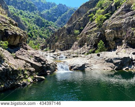 unrecognizable people in the Chassezac gorges in Lozere district in France