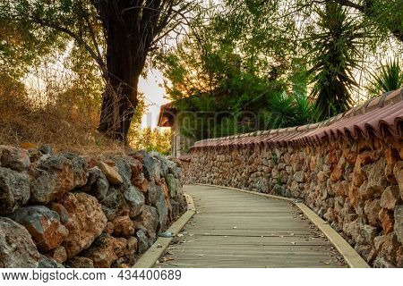 Pathway on the hill by the Alanya Castle at sunset, Turkey