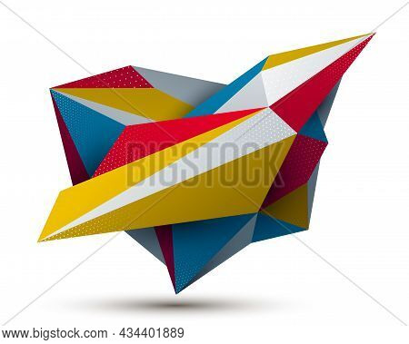 Low Poly Abstract Form Isolated On White, Vector Future Shape Design Polygonal Art, Dimensional Geom