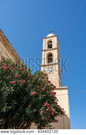 Chania, Greece - September 22, 2021: The Bell Tower Of Chania Cathedral In The Historic City Centre.