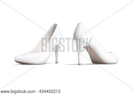 Blank White High Heels Shoes Mockup, Half-turned View, Side Back, 3d Rendering. Empty Female Casual