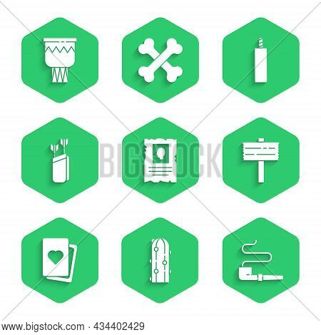 Set Wanted Western Poster, Cactus, Smoking Pipe, Road Traffic Signpost, Deck Of Playing Cards, Quive