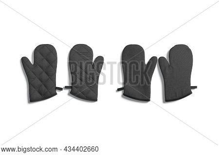 Blank Black Oven Mitt Mockup Pair Front And Back, Isolated, 3d Rendering. Empty Cotton Oven-glove Fo