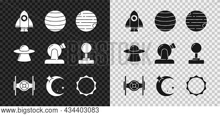 Set Rocket Ship, Planet Venus, Cosmic, Moon And Stars, Sun, Ufo Flying Spaceship And Astronomical Ob