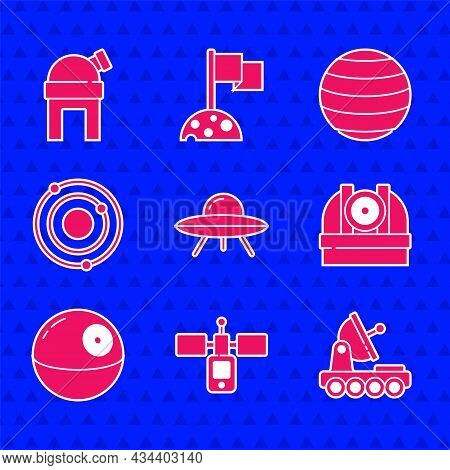 Set Ufo Flying Spaceship, Satellite, Mars Rover, Astronomical Observatory, Death Star, Solar System,