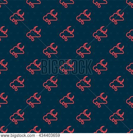 Red Line Cloud With Rain And Moon Icon Isolated Seamless Pattern On Black Background. Rain Cloud Pre