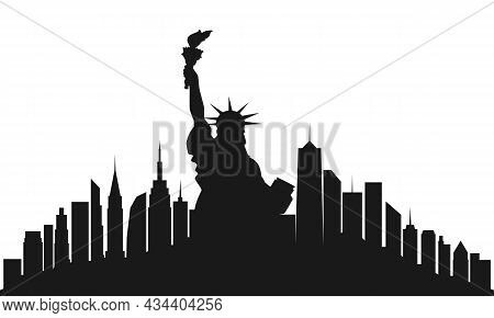 New York City. Statue Of Liberty And Skyline Nyc.