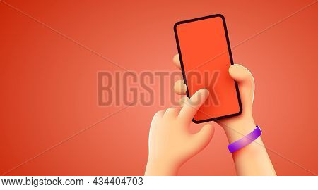 Holding Phone In Two Hands. Phone Mockup. Editable Smartphone Template. Touching Screen With Finger.