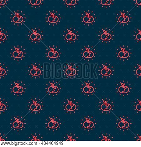 Red Line Poison Apple Icon Isolated Seamless Pattern On Black Background. Poisoned Witch Apple. Vect