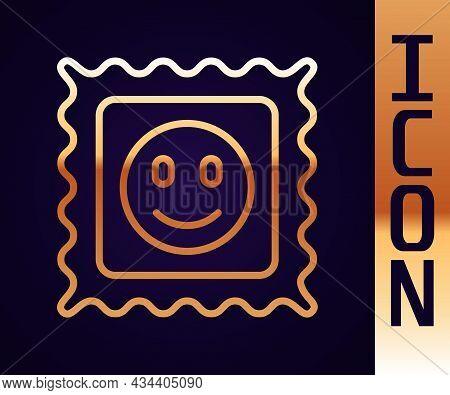 Gold Line Lsd Acid Mark Icon Isolated On Black Background. Acid Narcotic. Postmark. Postage Stamp. H