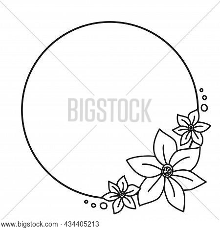 Black And White Botanical Round Frame With Copyspace