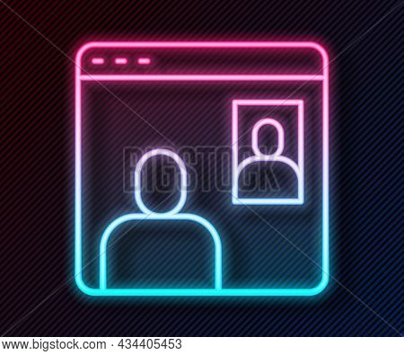 Glowing Neon Line Video Chat Conference Icon Isolated On Black Background. Computer With Video Chat
