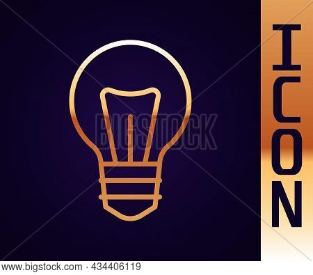 Gold Line Light Bulb With Concept Of Idea Icon Isolated On Black Background. Energy And Idea Symbol.