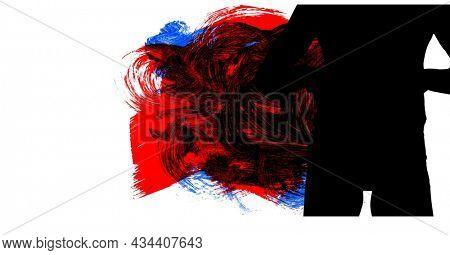 Mid section of silhouette of female handball player against red, black and blue paint brush strokes. sports and competition concept