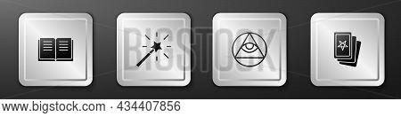 Set Ancient Magic Book, Magic Wand, Masons And Three Tarot Cards Icon. Silver Square Button. Vector