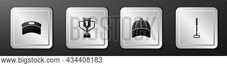 Set Sun Visor Cap, Award Cup With Golf, Baseball And Golf Club Icon. Silver Square Button. Vector