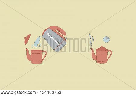 Vector Set Of Images Of Tea Time. A Collection With Steps For Brewing A Hot Drink. Brewing Tea In A