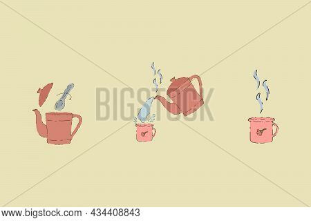 Vector Set Of Pictures With Tea. A Collection Of Illustrations With The Steps Of Brewing A Hot Drink