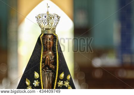 Sculpture Of The Image Of Our Lady Of Aparecida, Mother Of Jesus In The Catholic Religion, Patroness
