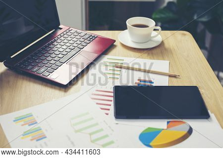 Business Computer Office Desk With Desktop Laptop, Tablet, Budget, Tax, Calculator, And Annual, Summ