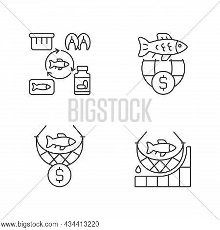 Fish Product Producing And Trade Linear Icons Set. Commercial Fishing. Producing Products For Trade.