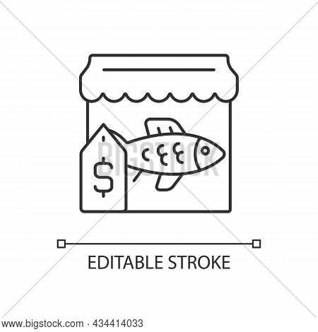 Fish Market Linear Icon. Fresh And Frozen Seafood Trade. Fish Marketplace. Fishmongers Stall. Thin L