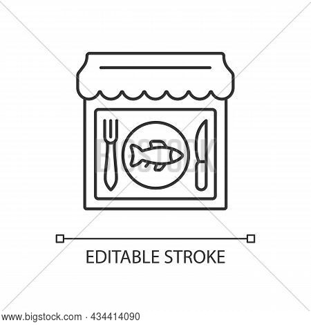 Seafood Restaurant Linear Icon. Serving Fish And Shrimps. Mediterranean Cuisine. Fishing Industry. T