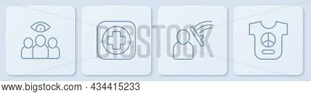 Set Line Spy, Agent, Police Beat Human, Hospital Signboard And Peace. White Square Button. Vector