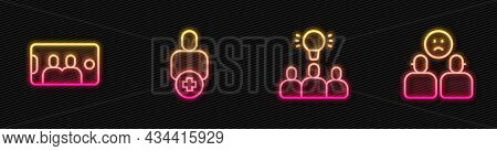 Set Line Project Team Base, Selfie On Mobile, Add To Friend And Complicated Relationship. Glowing Ne