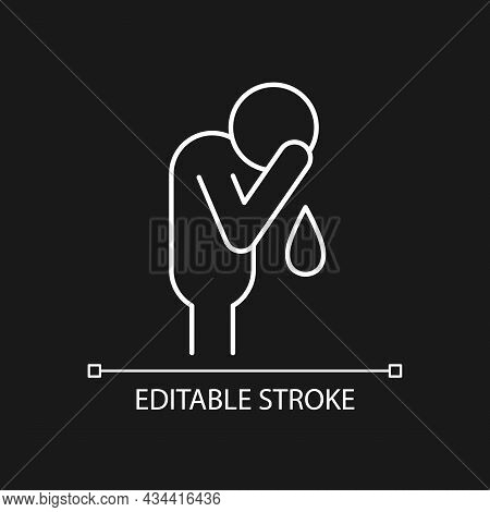 Cry White Linear Icon For Dark Theme. Experiencing Negative Emotions. Depression. Crying Man. Thin L