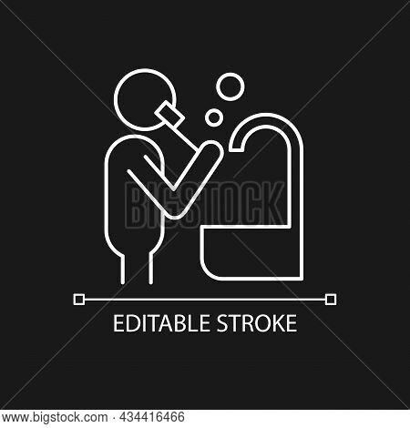 Brush Teeth White Linear Icon For Dark Theme. Person Brushing Teeth Near Sink. Dental Hygiene. Thin