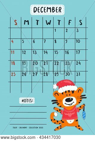 Planner Calendar For December 2022. Cute Tiger Cub In A Warm Red Sweater With A Christmas Tree Toy.