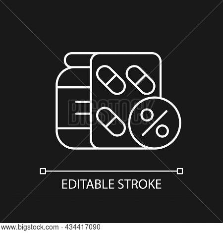 Reduced Prescription Drug Cost White Linear Icon For Dark Theme. Providing Health Benefits. Thin Lin