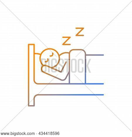 Sleep Gradient Linear Vector Icon. Person Sleeping Soundly In Bed. Day-to-day Life. Healthy Lifestyl