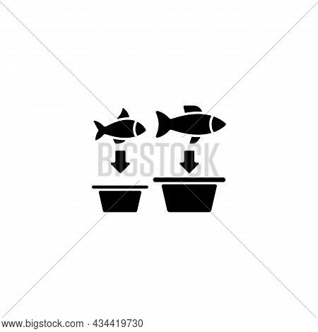 Fish Sorting Black Glyph Icon. Grading And Separating Seafood Products For Trade. Sorting Table And