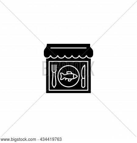 Seafood Restaurant Black Glyph Icon. Serving Fish And Shrimps. Mediterranean Cuisine. Marine Product