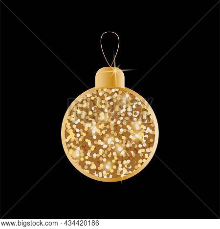 Christmas Toy With Sequins And Glitter. Christmas Decorations. Vector Golden Objects On A Black Back