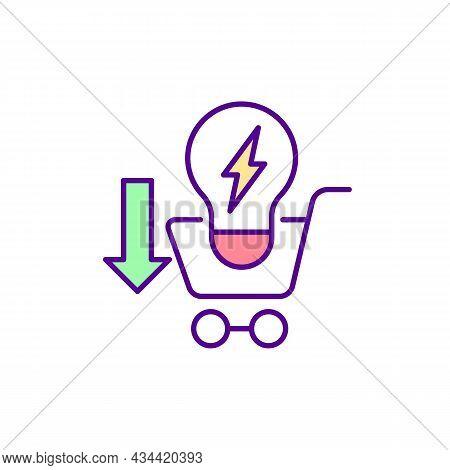 Energy-efficient Light Bulb Rgb Color Icon. Reducing Carbon Dioxide Emissions. Saving Electricity. L