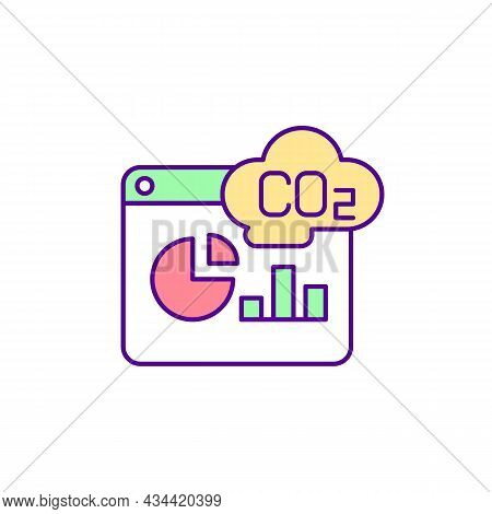 Carbon Emissions Measurement Rgb Color Icon. Reducing Greenhouse Gases. Carbon Footprint. Fighting G