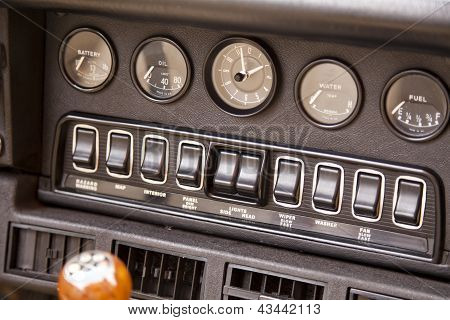 Control panel of a classic ancient car poster