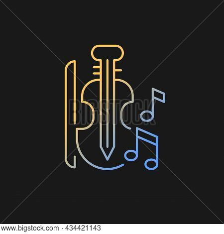 Music Gradient Vector Icon For Dark Theme. Playing Musical Instruments In Educational Institutions.