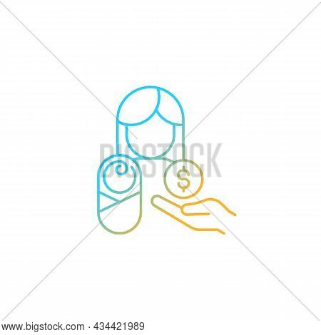 Paid Parental Leave Gradient Linear Vector Icon. Care For Born, Adopted Child. Improve Maternal Heal