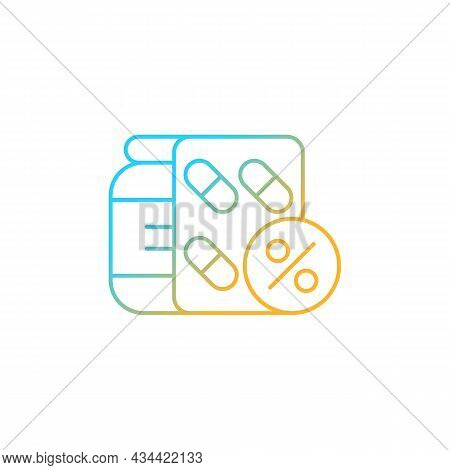 Reduced Prescription Drug Cost Gradient Linear Vector Icon. Providing Health Benefits To Employees.