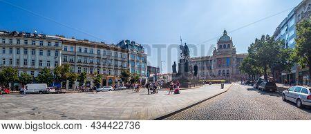 Prague, Czech Republic - 08 13 2021: Wenceslas Square In Prague, Panorama View Of The St. Wenceslas