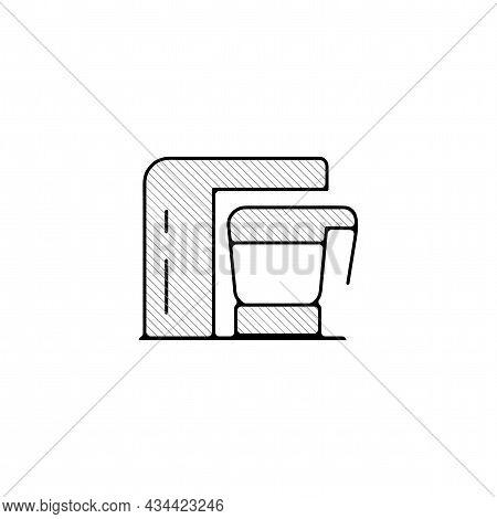 Coffee Maker Vector Thin Line Icon. Coffee Maker Machine Hand Drawn Thin Line Icon.