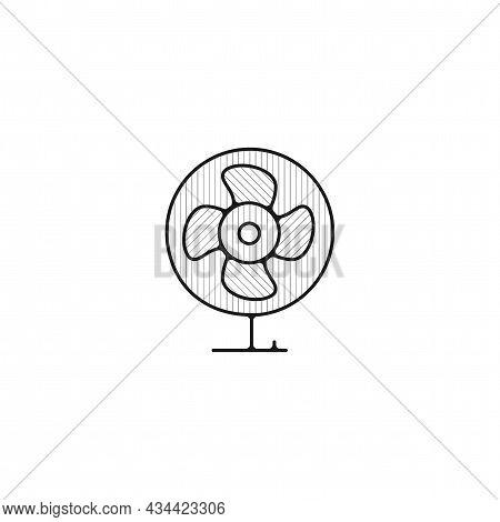 Fan Vector Thin Line Icon. Fan Hand Drawn Thin Line Icon.